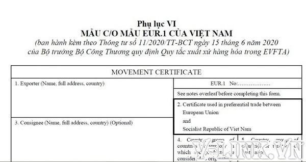 Dịch vụ xin cấp C/O form EUR.1